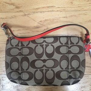 Coach Bags - New with Tag Khaki and Vermillion M Wristlet Coach